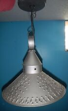 Large Hanging PUNCHED TIN SHADE LAMP Primitive Ceiling Pendant Rustic Light, GUC