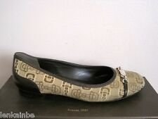 Gucci Canvas Jacquard Leather Horsebit Ballet Ballerina Flats 37.5 7.5