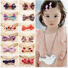 New10pcs Cute Toddler Girl Baby Ribbon Bow Hair Clip Kid Satin Bowknot Headband