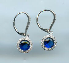925 SILVER 1.25 CT 7MM CREATED SAPPHIRE & CZ SOLITAIRE HALO LEVERBACK EARRINGS