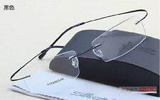 Black Silhouette Ultra-Light Titanium Eyeglasses Frame Rimless Glasses Frame!2g
