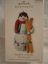 Hallmark 2010 Snowtop Lodge 6th Freddy F. Freestyle Ornament SNOWMAN New skis