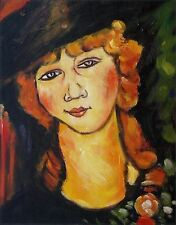Modigliani's Renee the Blonde Repro, Hand Painted Oil Painting, 9 1/8x10 3/4in