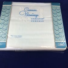 Vtg New CANNON Flamingo 2pc white cotton combed percale FULL  flat bed sheet