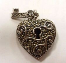 925 sterling silver pendant HEART lock n key  with Marcasite  Judith Jack