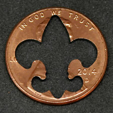 Lucky penny with fleur des lis cut out