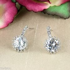 E1 Party Wedding Bridesmaid Prom Silver Plated Crystal Stud Earrings - Giftboxed
