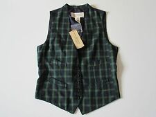 NWT Denim & Supply Ralph Lauren Green Plaid Front Satin Buckle Back Vest L $125