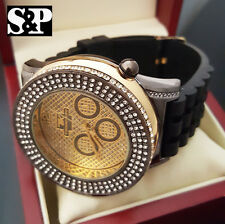 Luxury Two Tone Hip Hop Iced Out Bling Techno King Rapper Black Silicone Watch