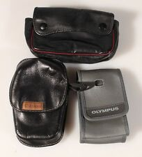 CANON, KONICA AND OLYMPUS, SMALL CAMERA CASES, SET OF 3