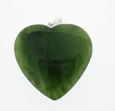 Silver and heart nephrite jade pendant