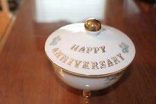Lefton China vintage candy dish Happy Anniversary 3 footed candy trinket bowl