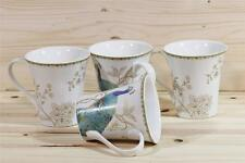 222 Fifth Peacock Garden Teal Fine China Porcelain Coffee Mugs Set of Four New