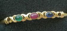 Vintage 14K Yellow Gold Emerald Ruby & Sapphire Cabochon Bangle Bracelet  7.4 gm