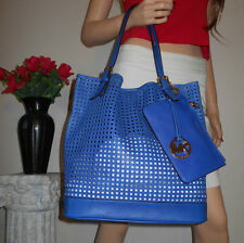 NWT MICHAEL KORS MK PERFORATE LEATHER KEY FOB HOBO BAG TOTE WALLET POUCH PURSE