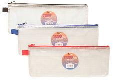 "Large 13"" Tuff Bag School Waterproof Trendy Strong Pencil Ruler Case Zip 300860"