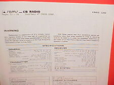 1981 CRAIG CB RADIO SERVICE SHOP MANUAL MODEL L232