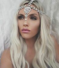 Glamorous Silver Jewel Headpiece Matha Patti Boho Bride Queen Diamond Goddess
