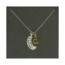 Lily Charmed NEW! Sterling Silver Large Feather & Gold Plated Initial D Necklace