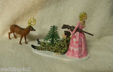 Wedding Reception Camo Bride & Groom Deer Hunter Hunting Cake Topper Redneck