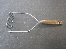 """VINTAGE MASHER - KITCHEN TOOL - MADE IN USA  - 10-1/4"""" LONG WOODEN HANDLE"""