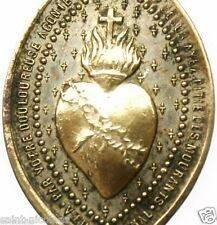 AGONIZING SACRED HEART OF JESUS - RARE ANTIQUE MEDAL PENDANT