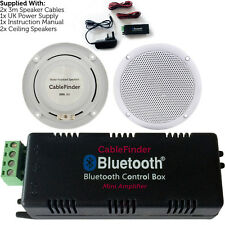 Wireless/Bluetooth Amplifier & 2x 80W Ceiling Speaker Kit–Compact Home Hi-Fi Amp