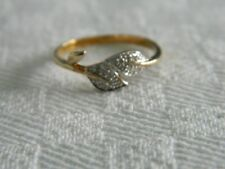 9ct Yellow Gold Diamond Set Celtic Style Double Leaf Ring size N