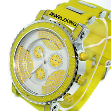 MENS ICED OUT YELLOW/SILVER ICE NATION HIP HOP WATCH WITH SILICONE BULLET BAND