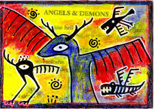 angels & demons e9Art ACEO Outsider Art Brut Raw Surrealism Collage Painting