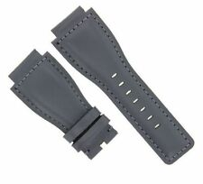 24MM LEATHER STRAP SMOOTH BAND FOR BELL & ROSS BR-01-03 GREY