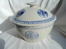 Vintage-Chinese-Porcelain-Rice-Bowl-Crane-Decorations-Blue-White-Asian-With-Lid