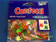 16th Birthday Mix 16 Sweet Sixteen Party Decoration Foil Shaped Confetti *