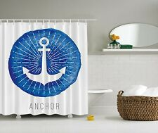 Blue White Nautical Anchor Beach Fabric Shower Curtain Digital Art Bathroom