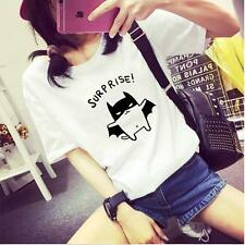 2016 Womens Summer T-Shirts Lovely Bat Print Cotten Kawaii Tops Blouse Grey Pink