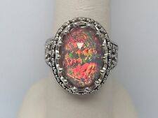 SAJEN LADIES RAINBOW QUARTZ STERLING SILVER FILIGREE RING SIZE 7