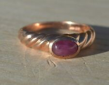 ESTATE 10K ROSE GOLD RUBY SOLITAIRE RING-SIZE 5 417 CID-1/2CT OVAL CABOCHON