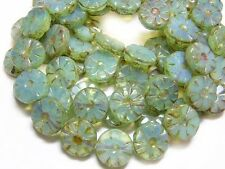 12mm Seafoam Opal Picasso Czech Glass Table Cut Wheel Beads (10) #4716
