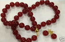 """10mm Natural Red Jade Round Gemstone Necklace 18""""+14K Earrings AAA+"""