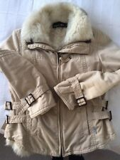 MARC CAIN Beige Jacket with Sheep Skin Removeable Gilet UK12