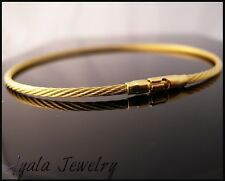 14K Gold Plated Solid 925 Sterling Silver Bracelet Men Unisex Bangle Cable Cuff