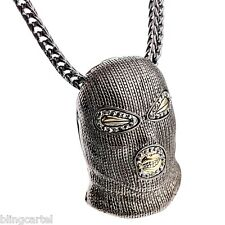 """Goon Masked Man Iced-Out Pendant Gunmetal Tone Hip Hop Necklace 36"""" Franco Chain"""