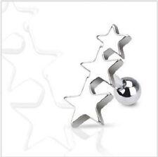 """Triple 3 Star Tragus Cartilage Steel  Barbell Ring Stud Earring 1/4"""" 16 Gauge"""