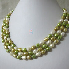 """56"""" 6-8mm White Champagne Green Baroque Freshwater Pearl Necklace Z"""