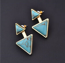 Fashion Women Gold Plated Earrings Turquoise Double Triangle Earrings Stud