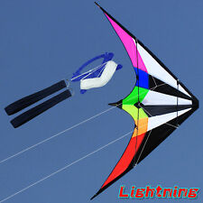 NEW 70-Inch Rainbow stunt Power Kite outdoor Sport fun Toys dual line