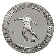 1990 Spain Large  silver Proof 2000 Pesetas-Ancient Olympic Soccer(Football)