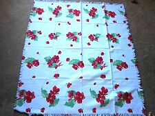 VINTAGE RED & WHITE TABLECLOTH-G-FLOWERS ARE GERANIUMS-44 X 50