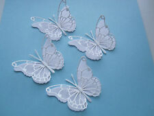 10 DIE CUT  3D BUTTERFLY TOPPER  WHITE  GLITTER  / WHITE CARD
