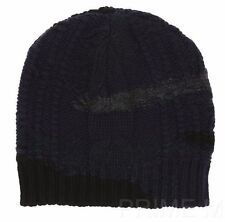 NEW VALENTINO LUXURY WOOL CASHMERE CAMOUFLAGE BLUE KNIT BEANIE HAT ONE SIZE